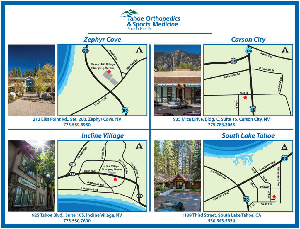 Tahoe Orthopedics and Sports Medicine Map of Locations